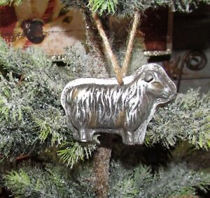Primitive Antique Vtg Style Christmas Tree Sheep Resin Chocolate Mold Ornament