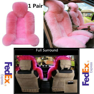 1 Pair Pink Long Wool Car Front Seat Cover Super Soft Fluffy Winter Keep Warm