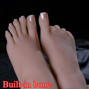 1pc Lifelike Silicone Feet With Bone Female Foot Model Display One Left Or Right