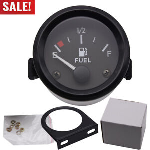 52mm 2 12v Bezel Gas Fuel Level Gauge Analogue Red Led Car Marine Boat Black
