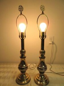 Hollywood Regency Pair Brass Lamps By Rembrandt