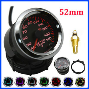 2 52mm Water Temp Temperature Gauge Car Universal Smoke Len Led Pointer Meter