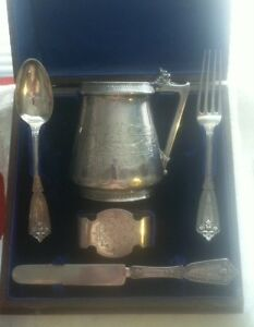 Gorham Whiting Coin Silver Baby Youth Set In Original Box Ca 1868 Not Sterling