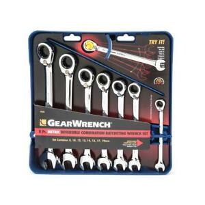 Gearwrench 9543 8 Piece Reversible Ratcheting Combination Wrench Set Metric
