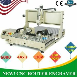 Usb 4 Axis 1 5kw Cnc 6090z Router Engraver Engraving Machine Milling Metal Wood
