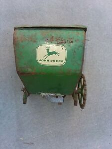 Vintage John Deere Tractor Corn Seeder Planter Hopper Metal Box Farm Art Flowers