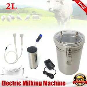 2l Electric Milking Machine Vacuum Impulse Pump Stainless Steel Goat Milker New
