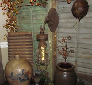 Primitive Antique Vtg Style Carriage Country Farm Hanging Led Light Lamp