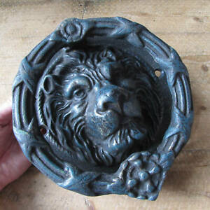 Very Large And Heavy Cast Iron Lion Door Knocker Antique Style Reproduction