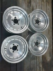 Set Of 4 Vintage 15x7 Centerline Style Fenton Rt Wheels Mopar Ford Chevy Cragar