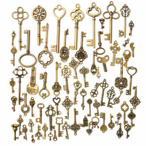 Set Of 70 Antique Vintage Old Look Bronze Skeleton Keys Fancy Heart Bow