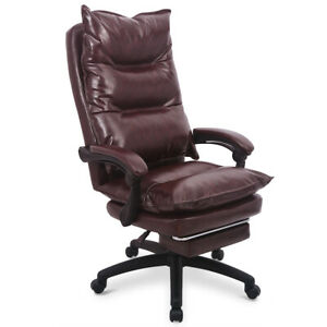 Executive Office High Back Pu Leather Memory Foam Retractable Footrest Chair