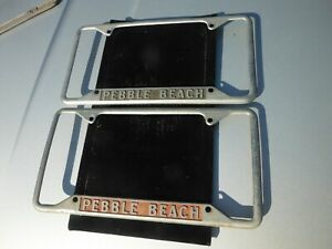 1960 s Muscle Car Era Metal Chrome License Plate Frame Set Pebble Beach Ca Rare