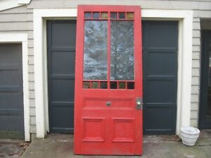 Huge Antique Queen Anne Victorian Stained Slag Glass Entry Door Circa 1890 S 8
