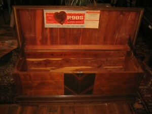 Antique Roos Art Deco Waterfall Cedar Chest Trunk Orig Vintage Finish