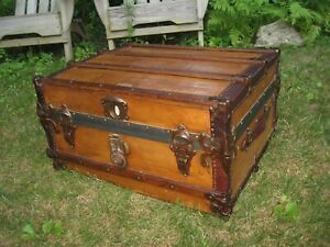24 Antique Semi Flat Slat Top Steamer Trunk Stage Coach Chest Coffee Table Rare
