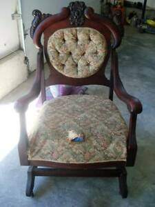 Awesome Antique Upholstered Wooden Rocking Chair Reduced