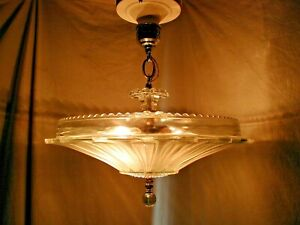Antique Vtg Art Deco Sunflower Glass Shade Ceiling Light Fixture Chandelier