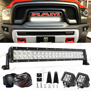 20 5 Led Light Bar W Front Grill Wire Work Cube Pods For Dodge Ram Rebel