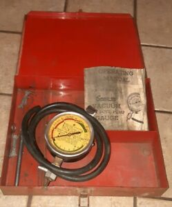 Vintage Snap On Tools Vacuum Fuel Pump Pressure Gauge W Case Instruction Manual