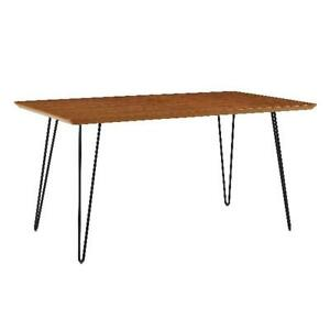 60 Mid Century Modern Dining Table Walnut Finish W Hairpin Style Metal Legs