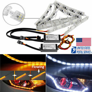 2x Switchback Dynamic Led Strip Light Sequential Signal Headlight Indicator Lamp