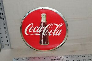 RARE 1930s DRINK COCA COLA BOTTLE CELLULOID METAL SIGN GAS OIL FOUNTAIN BUTTON