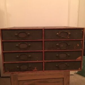 Vintage Covered Wood Collectors Drawers Index Filing Cabinet Pine Pull Handles