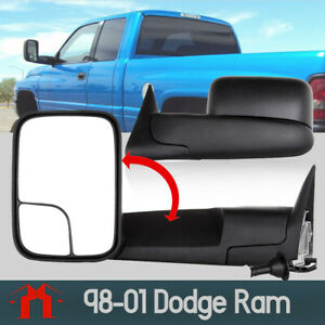 L R Fit 98 01 Dodge Ram 1500 2500 3500 Flip Up Power Heated Tow Mirrors Side
