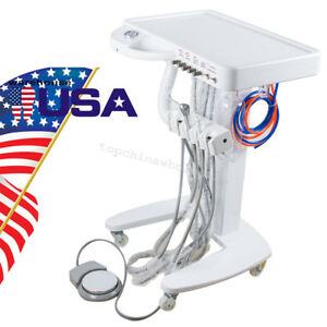 Portable Moveable Dental Self Delivery Unit Cart Treatment Equipment Desk 4 Hole