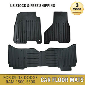 Black Car Carpet Floor Mats Slush Style Fits For 09 18 Dodge Ram 1500 2500 3500