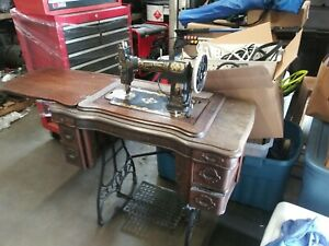 Antique White Rotary Treadle Sewing Machine W Cabinet Early 1900 S