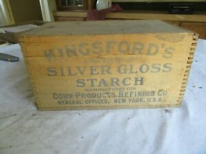Vintage Wood Crate Kingsford S Silver Gloss Starch 7 X 11 X 16 Lot 19 60 8