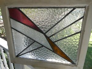 Pla 301 Lovely Older Art Deco Type Leaded Stained Glass Window F England 21x18