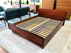 Mid Century Danish Modern Queen Size Rosewood Platform Bed With Hidden Drawers B