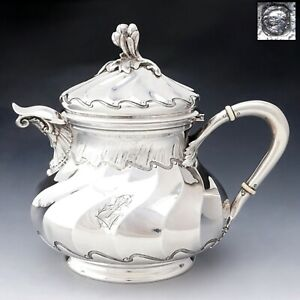 Antique French Sterling Silver Teapot Coffee Pot Spiral Fluted Pierre Quielle