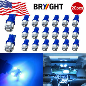 20x Ultra Blue T10 194 5050 5 Smd Led Bulbs Car Interior License Light 2825 192
