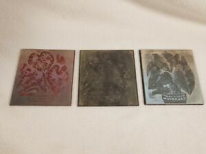 3 Etched Engraved Metal Printing Machine Press Plate Stamp Fancy Leaf Caladium