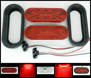 Pair Truck Trailer Led Stop Turn Tail Light 6 1 2 Oval W groms