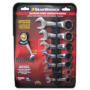 Brand New Gearwrench 7 Pc Stubby Combination Ratcheting Wrench Set 8700a Sae