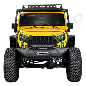 Stubby Front Bumper Built In Winch Plate Cover Fit 07 18 Jeep Jk Wrangle