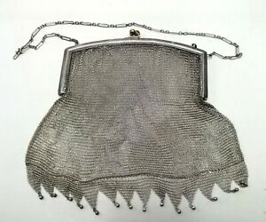Antique Sterling Silver Mesh Purse Chain Handbag Woven Whiting Davis Signed