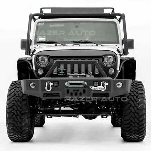 Front Bumper Fog Light Hole Led Mount Winch Plate Fit For 07 18 Jeep Wrangler Jk