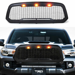 Abs Black Mesh Upper front Grille Grill W led Light For 2013 2018 Dodge Ram 1500
