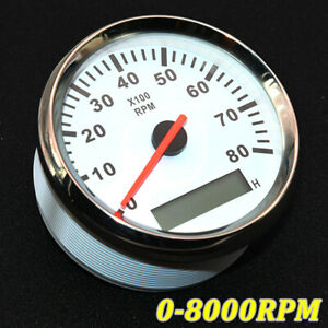 85mm Car Marine Tachometer Gauge Lcd Tacho Hour Meter 0 8000 Rpm Red Backlight