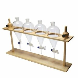 Wooden Separatory Funnel Beaker Storage Stand Rack For Experimental Lab Supplies