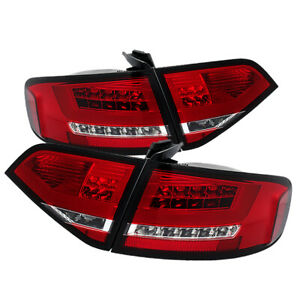 Audi 09 12 A4 S4 Quattro Sedan Red Clear Led Tail Lights factory Led Model Only