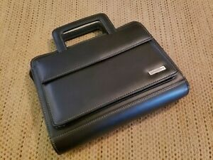 Franklin Covey classic Black Genuine Leather Planner Binder 7 rings zip Around