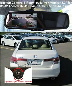 Backup Camera Rear View Mirror 4 3 Monitor For Honda Accord Civic Crz Insight
