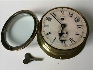 Smiths Astral Navy Ship Bulkhead Clock And Original Key Vintage Antique